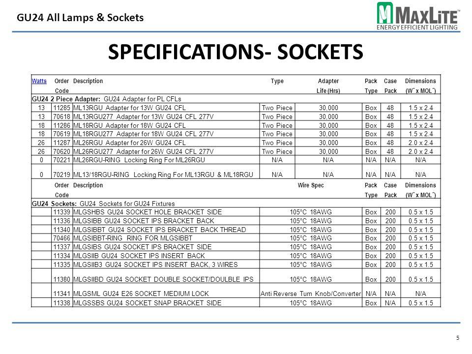 ENERGY EFFICIENT LIGHTING SPECIFICATIONS- SOCKETS 5 GU24 All Lamps & Sockets WattsOrderDescriptionTypeAdapterPackCaseDimensions CodeLife (Hrs)TypePack(W˝ x MOL˝) GU24 2 Piece Adapter: GU24 Adapter for PL CFLs 1311285ML13RGU Adapter for 13W GU24 CFLTwo Piece30,000Box481.5 x 2.4 1370618ML13RGU277 Adapter for 13W GU24 CFL 277VTwo Piece30,000Box481.5 x 2.4 1811286ML18RGU Adapter for 18W GU24 CFLTwo Piece30,000Box481.5 x 2.4 1870619ML18RGU277 Adapter for 18W GU24 CFL 277VTwo Piece30,000Box481.5 x 2.4 2611287ML26RGU Adapter for 26W GU24 CFLTwo Piece30,000Box482.0 x 2.4 2670620ML26RGU277 Adapter for 26W GU24 CFL 277VTwo Piece30,000Box482.0 x 2.4 070221ML26RGU-RING Locking Ring For ML26RGUN/A 070219ML13/18RGU-RING Locking Ring For ML13RGU & ML18RGUN/A OrderDescriptionWire SpecPackCaseDimensions CodeTypePack(W˝ x MOL˝) GU24 Sockets: GU24 Sockets for GU24 Fixtures 11339MLGSHBS GU24 SOCKET HOLE BRACKET SIDE105°C 18AWGBox2000.5 x 1.5 11336MLGSIBB GU24 SOCKET IPS BRACKET BACK105°C 18AWGBox2000.5 x 1.5 11340MLGSIBBT GU24 SOCKET IPS BRACKET BACK THREAD105°C 18AWGBox2000.5 x 1.5 70466MLGSIBBT-RING RING FOR MLGSIBBT105°C 18AWGBox2000.5 x 1.5 11337MLGSIBS GU24 SOCKET IPS BRACKET SIDE105°C 18AWGBox2000.5 x 1.5 11334MLGSIIB GU24 SOCKET IPS INSERT BACK105°C 18AWGBox2000.5 x 1.5 11335MLGSIIB3 GU24 SOCKET IPS INSERT BACK, 3 WIRES105°C 18AWGBox2000.5 x 1.5 11380MLGSIIBD GU24 SOCKET DOUBLE SOCKET/DOULBLE IPS105°C 18AWGBox2000.5 x 1.5 11341MLGSML GU24 E26 SOCKET MEDIUM LOCKAnti Reverse Turn Knob/ConverterN/A 11338MLGSSBS GU24 SOCKET SNAP BRACKET SIDE105°C 18AWGBoxN/A0.5 x 1.5