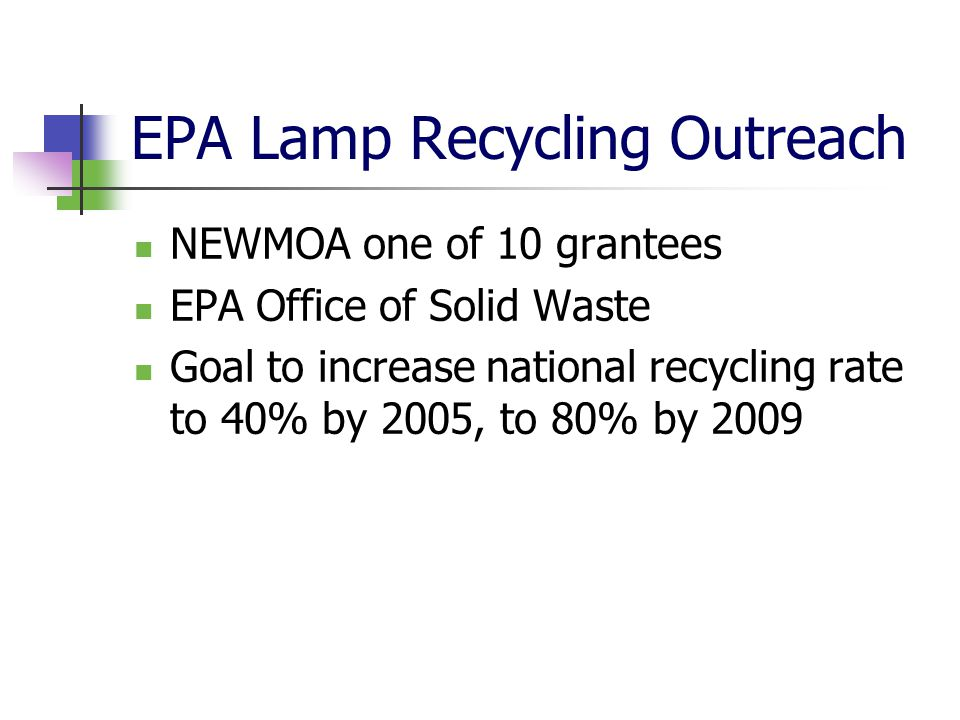 EPA Lamp Recycling Outreach NEWMOA one of 10 grantees EPA Office of Solid Waste Goal to increase national recycling rate to 40% by 2005, to 80% by 2009