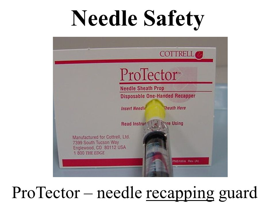 c. card for needle re-capping protection
