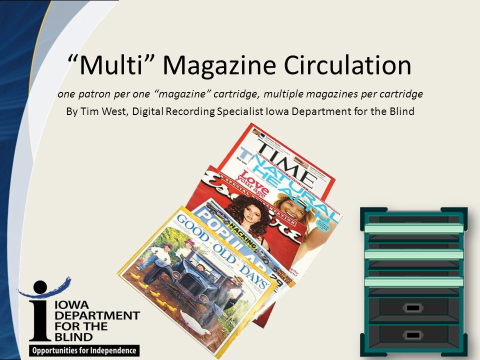 """Multi"" Magazine Circulation one patron per one ""magazine"" cartridge, multiple magazines per cartridge By Tim West, Digital Recording Specialist Iowa"