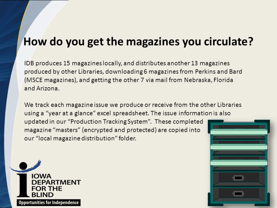 How do you get the magazines you circulate? IDB produces 15 magazines locally, and distributes another 13 magazines produced by other Libraries, downl