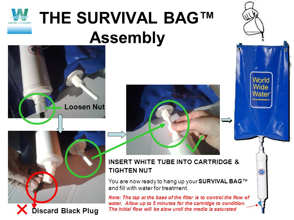 THE SURVIVAL BAG™ Assembly Loosen Nut INSERT WHITE TUBE INTO CARTRIDGE & TIGHTEN NUT You are now ready to hang up your SURVIVAL BAG™ and fill with water for treatment.