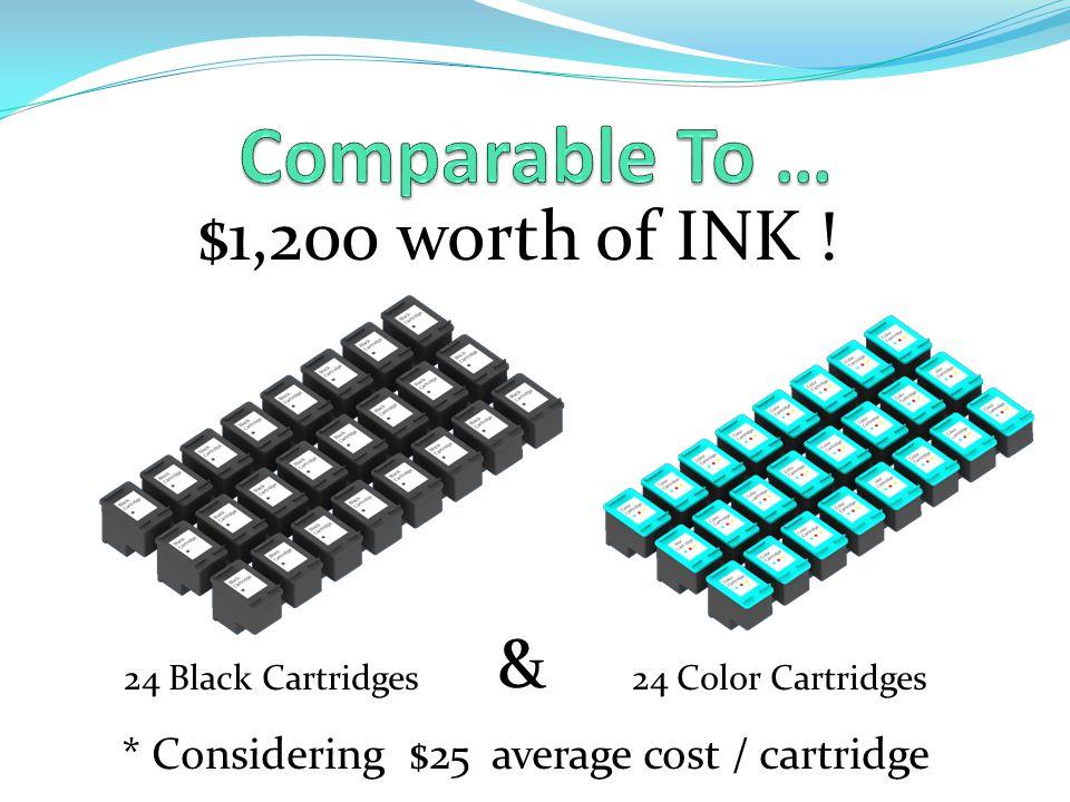$1,200 worth of INK ! 24 Black Cartridges & 24 Color Cartridges * Considering $25 average cost / cartridge