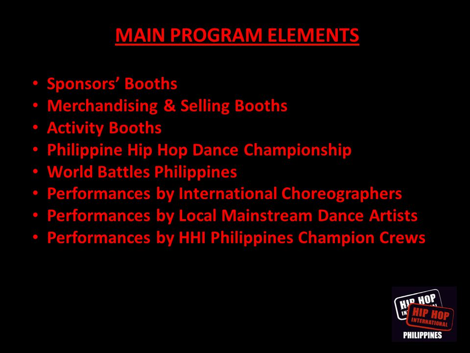 PHILIPPINE HIP HOP DANCE CHAMPIONSHIP The Finalists are set from South Luzon, North Luzon, Visayas, Mindanao and NCR for each of the following Championship Divisions: JUNIOR Division – 1 team VARSITY Division – 10 teams ADULT Division – 18 teams MEGACREW Division – 11 teams TOTAL of 40 teams