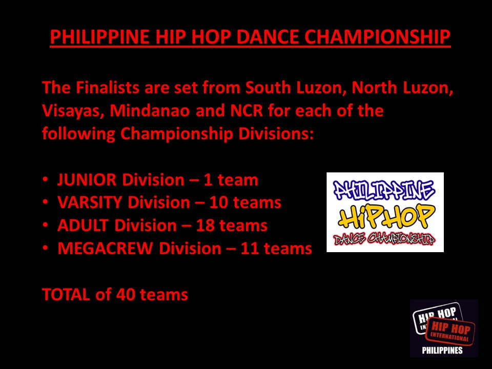 PHILIPPINE HIP HOP DANCE CHAMPIONSHIP The Finalists are set from South Luzon, North Luzon, Visayas, Mindanao and NCR for each of the following Champio