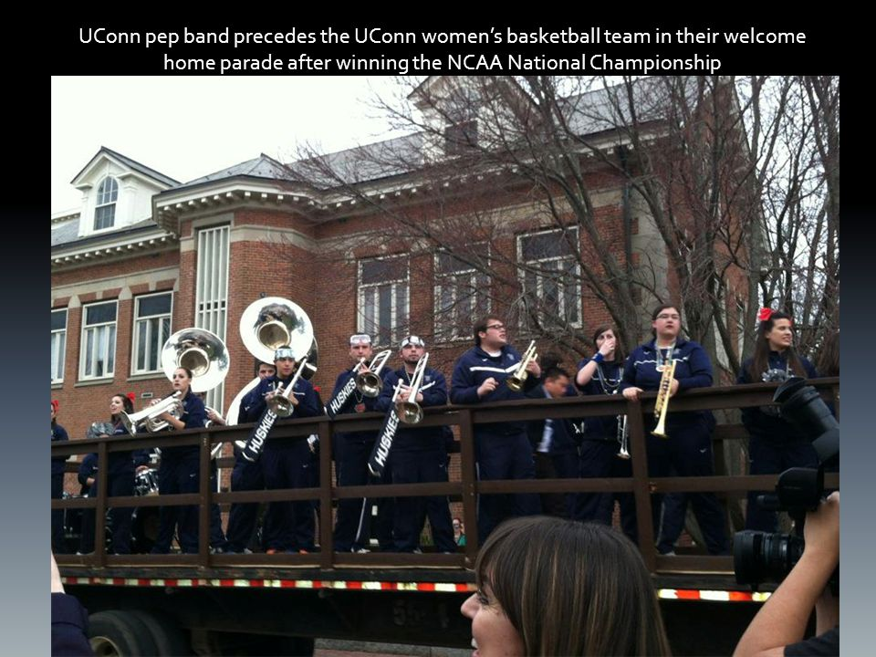 UConn pep band precedes the UConn women's basketball team in their welcome home parade after winning the NCAA National Championship