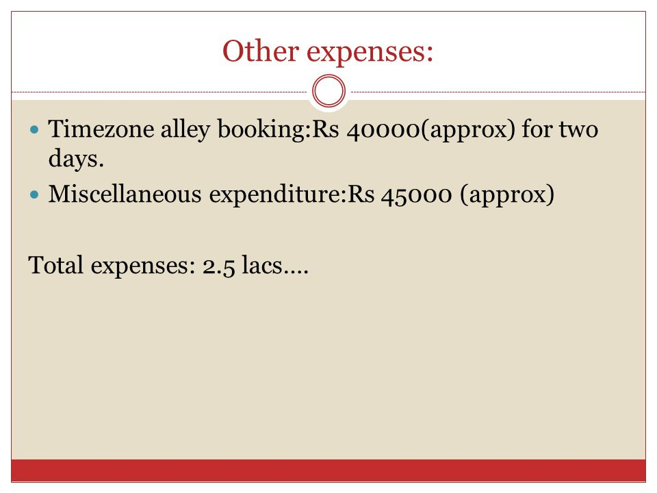 Other expenses: Timezone alley booking:Rs 40000(approx) for two days. Miscellaneous expenditure:Rs 45000 (approx) Total expenses: 2.5 lacs….