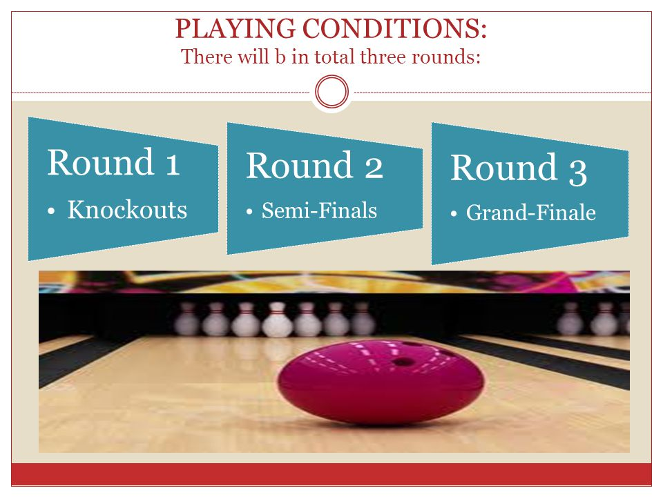 Round 1: Knockouts: This round will b played in different sections: For e.g.