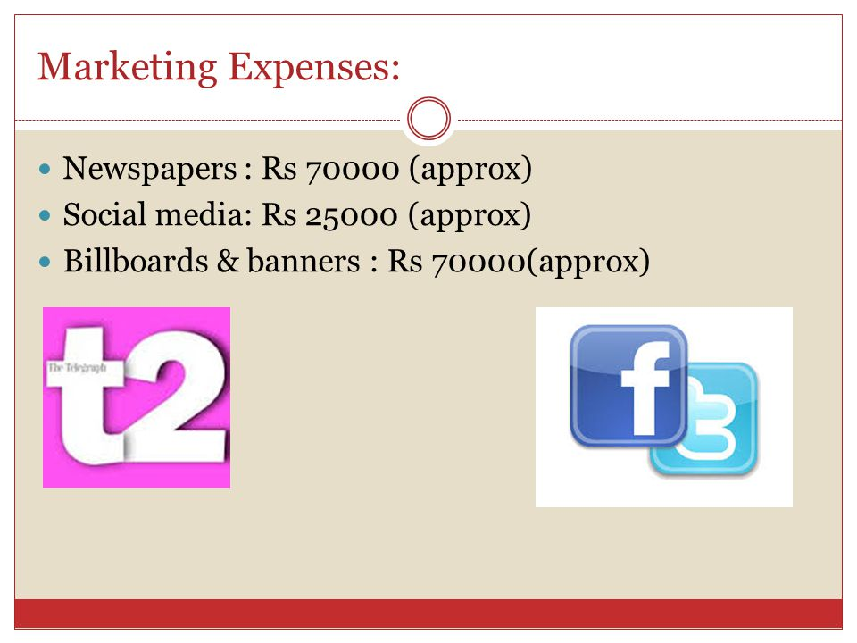 Marketing Expenses: Newspapers : Rs (approx) Social media: Rs (approx) Billboards & banners : Rs 70000(approx)