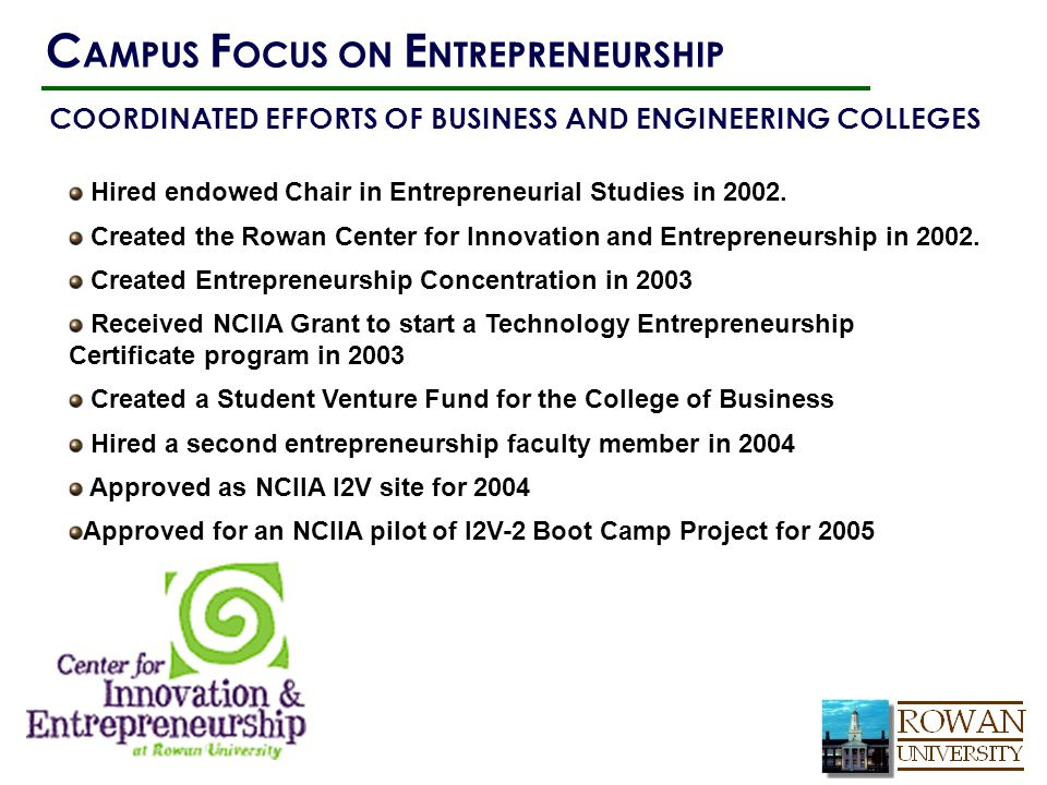 Hired endowed Chair in Entrepreneurial Studies in 2002. Created the Rowan Center for Innovation and Entrepreneurship in 2002. Created Entrepreneurship