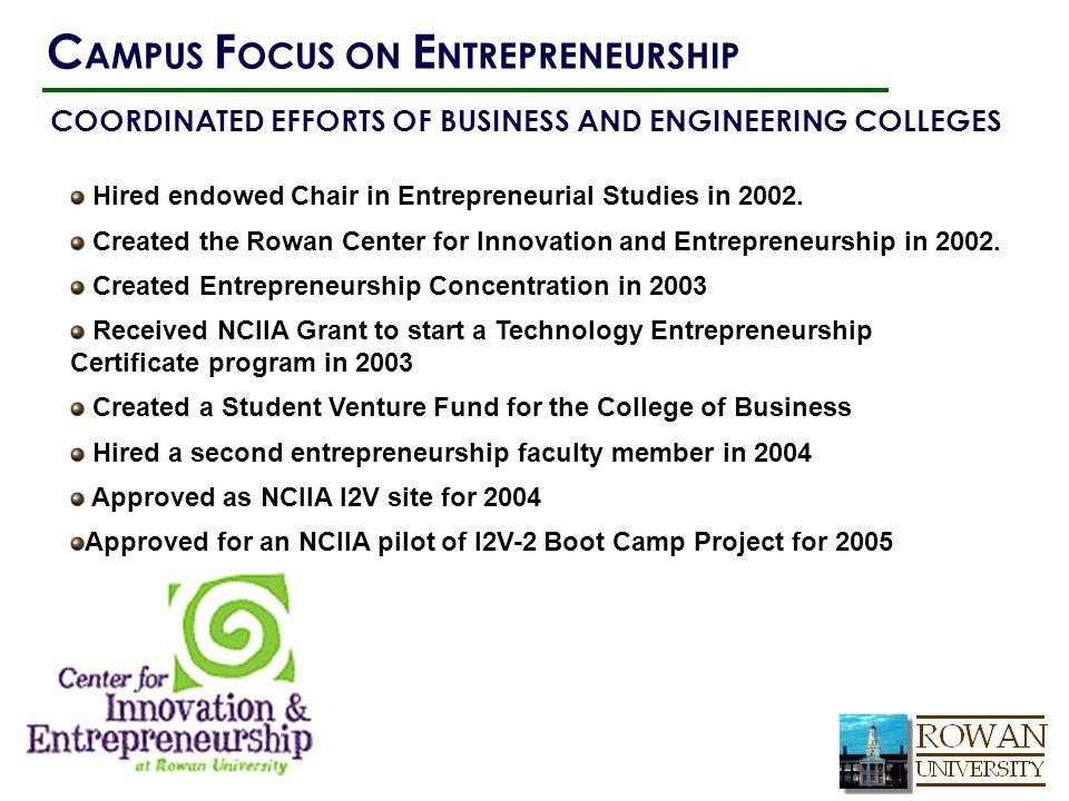 Hired endowed Chair in Entrepreneurial Studies in 2002.