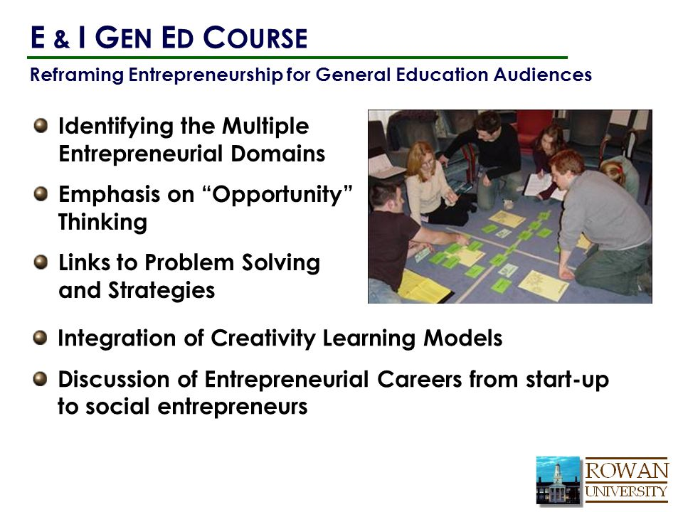 Reframing Entrepreneurship for General Education Audiences Identifying the Multiple Entrepreneurial Domains Emphasis on Opportunity Thinking Links to Problem Solving and Strategies E & I G EN E D C OURSE Integration of Creativity Learning Models Discussion of Entrepreneurial Careers from start-up to social entrepreneurs
