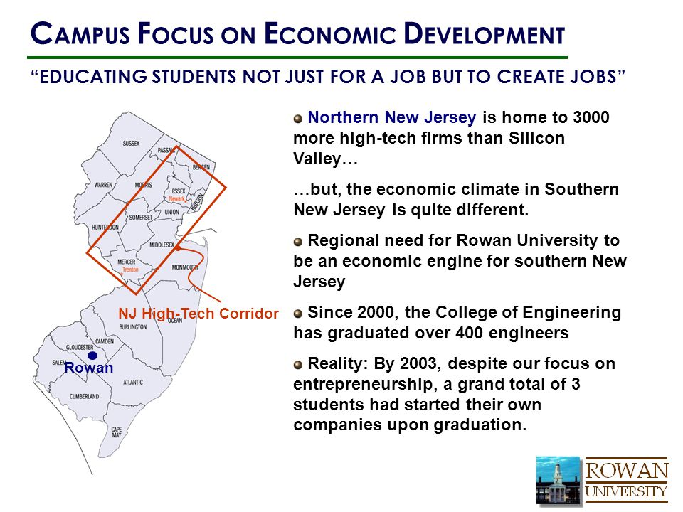 Northern New Jersey is home to 3000 more high-tech firms than Silicon Valley… …but, the economic climate in Southern New Jersey is quite different. Re