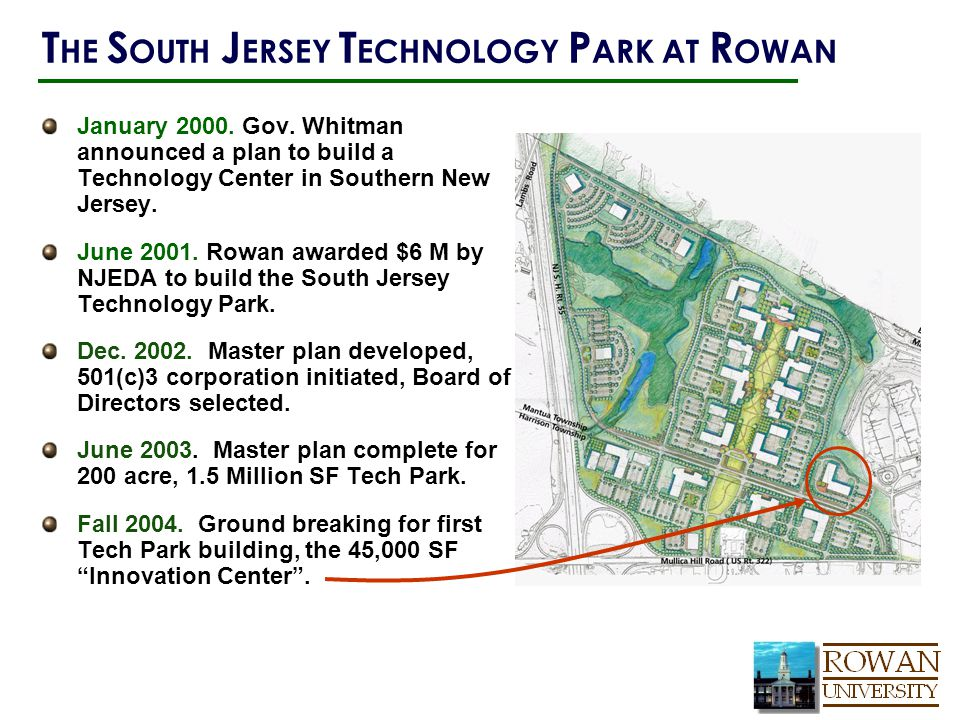 January 2000. Gov. Whitman announced a plan to build a Technology Center in Southern New Jersey.