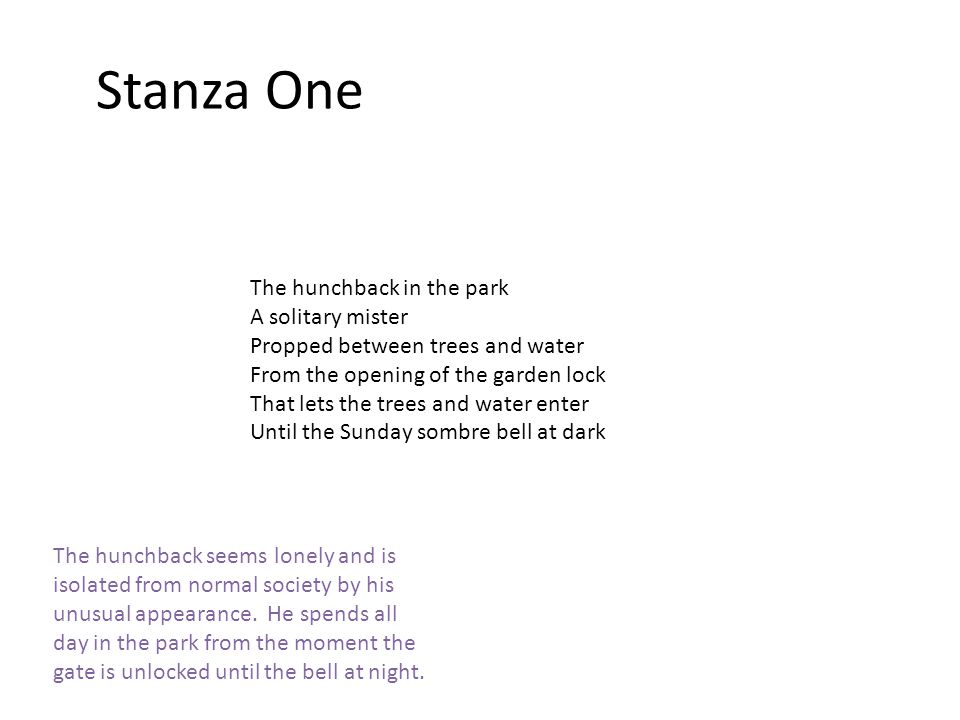 Stanza One The hunchback in the park A solitary mister Propped between trees and water From the opening of the garden lock That lets the trees and water enter Until the Sunday sombre bell at dark The hunchback seems lonely and is isolated from normal society by his unusual appearance.