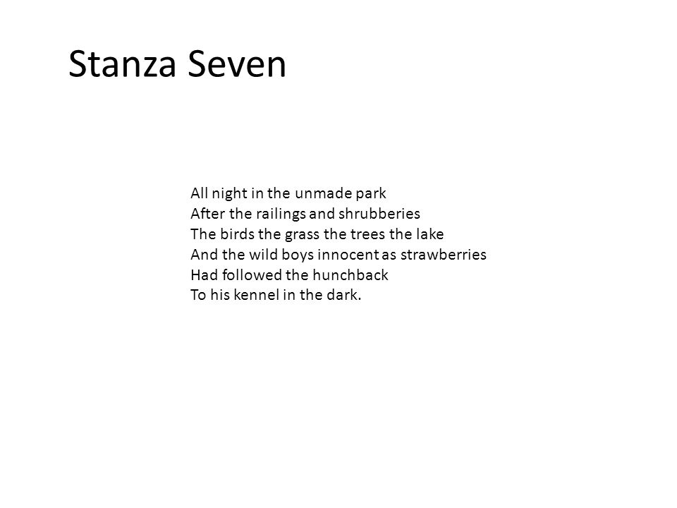 Things to note The hunchback and the boys are contrasted throughout the poem.