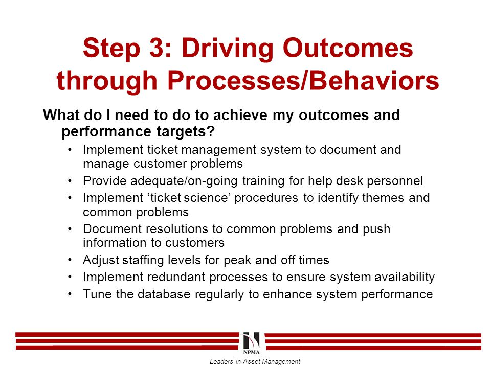 Leaders in Asset Management Step 3: Driving Outcomes through Processes/Behaviors What do I need to do to achieve my outcomes and performance targets.