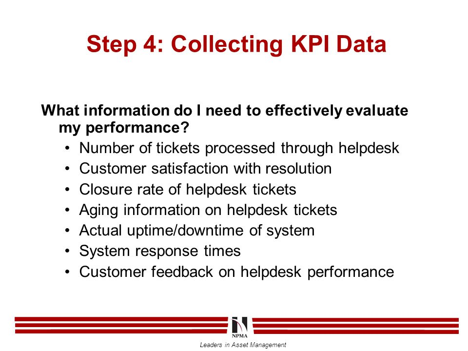 Leaders in Asset Management Step 4: Collecting KPI Data What information do I need to effectively evaluate my performance.