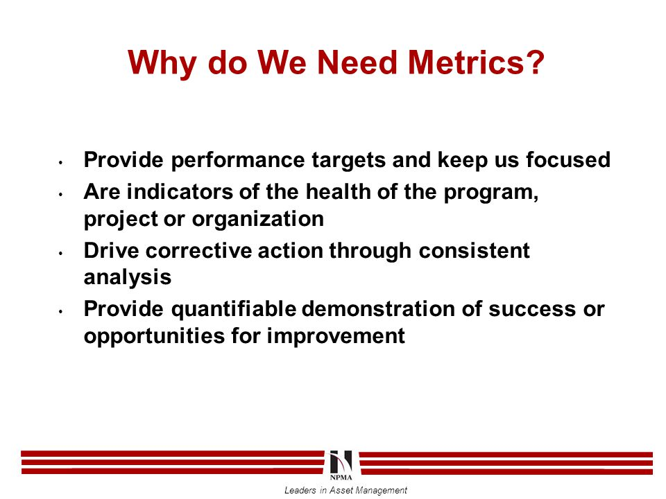 Leaders in Asset Management Why do We Need Metrics.