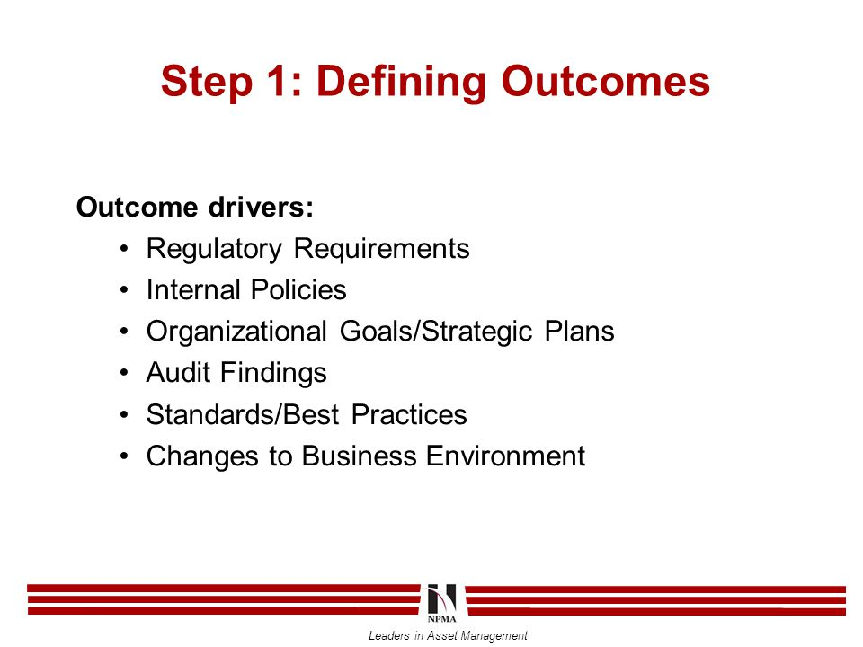 Leaders in Asset Management Step 1: Defining Outcomes Outcome drivers: Regulatory Requirements Internal Policies Organizational Goals/Strategic Plans Audit Findings Standards/Best Practices Changes to Business Environment