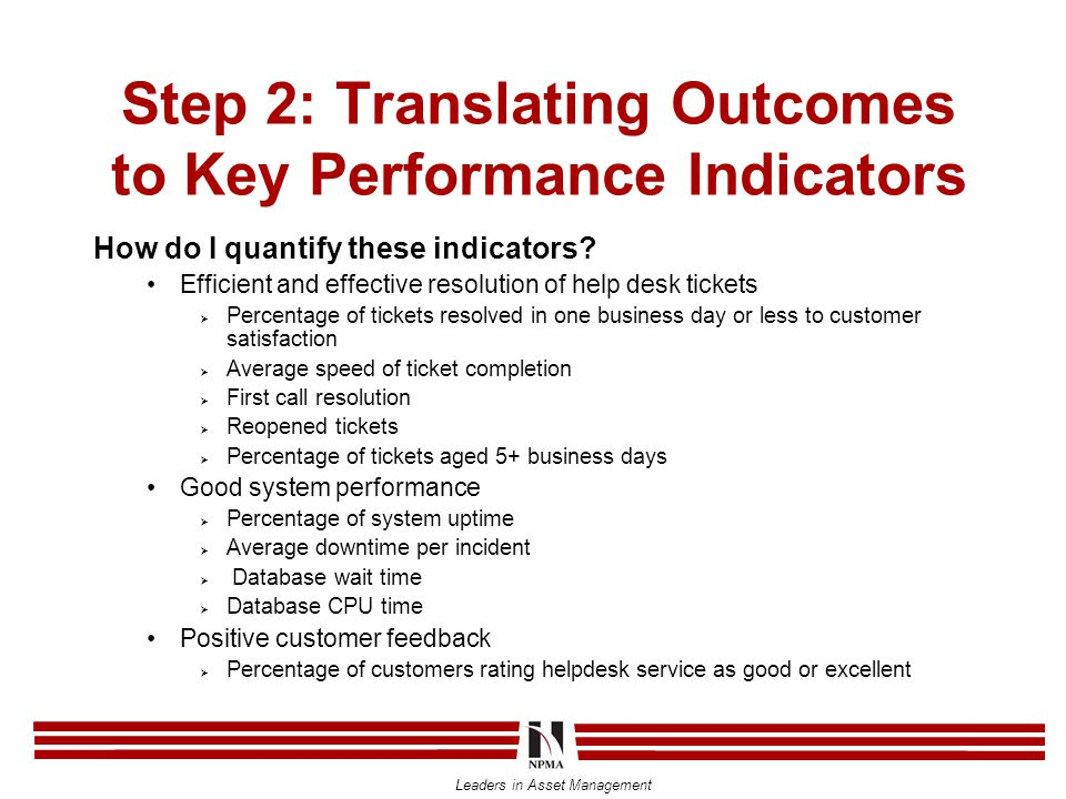 Leaders in Asset Management Step 2: Translating Outcomes to Key Performance Indicators How do I quantify these indicators.