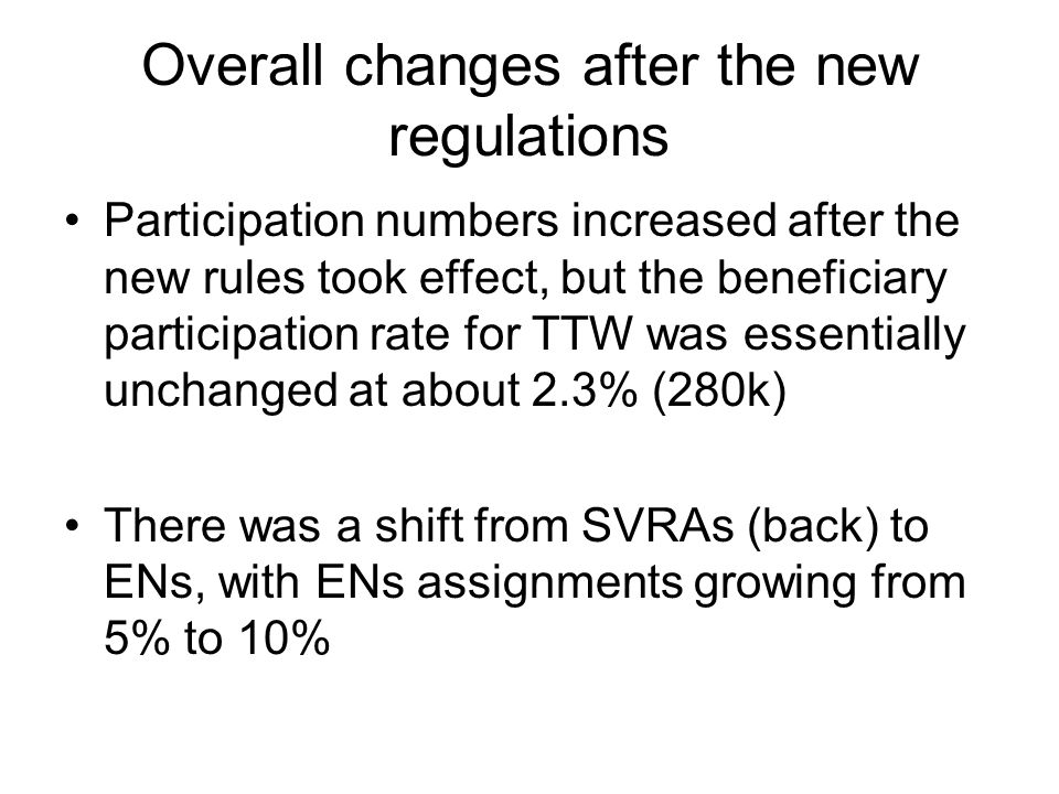 Overall changes after the new regulations Participation numbers increased after the new rules took effect, but the beneficiary participation rate for TTW was essentially unchanged at about 2.3% (280k) There was a shift from SVRAs (back) to ENs, with ENs assignments growing from 5% to 10%