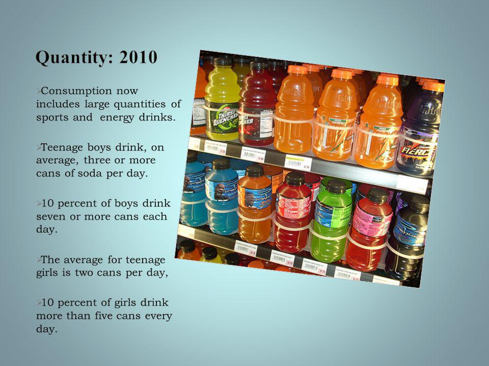  Consumption now includes large quantities of sports and energy drinks.