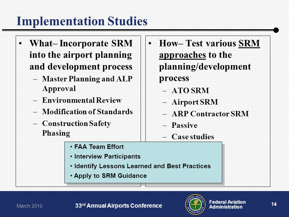 14 Federal Aviation Administration March rd Annual Airports Conference Implementation Studies What– Incorporate SRM into the airport planning and development process –Master Planning and ALP Approval –Environmental Review –Modification of Standards –Construction Safety Phasing How– Test various SRM approaches to the planning/development process –ATO SRM –Airport SRM –ARP Contractor SRM –Passive –Case studies FAA Team Effort Interview Participants Identify Lessons Learned and Best Practices Apply to SRM Guidance FAA Team Effort Interview Participants Identify Lessons Learned and Best Practices Apply to SRM Guidance