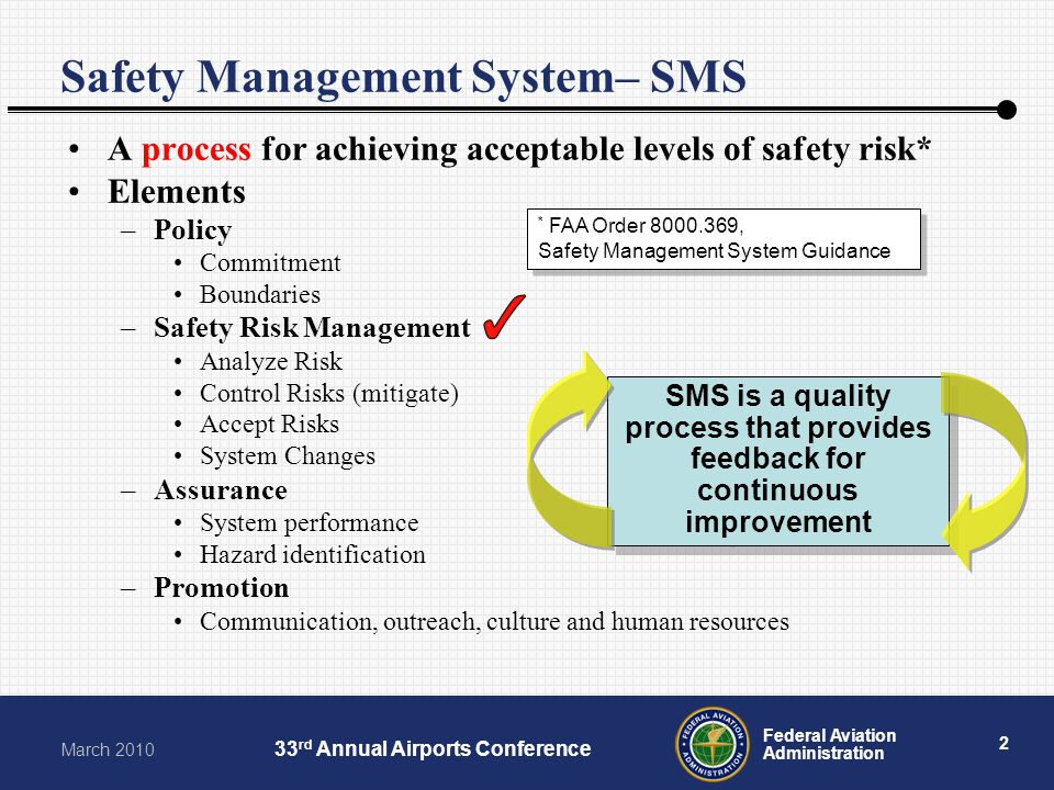 2 Federal Aviation Administration March 2010 33 rd Annual Airports Conference Safety Management System– SMS A process for achieving acceptable levels