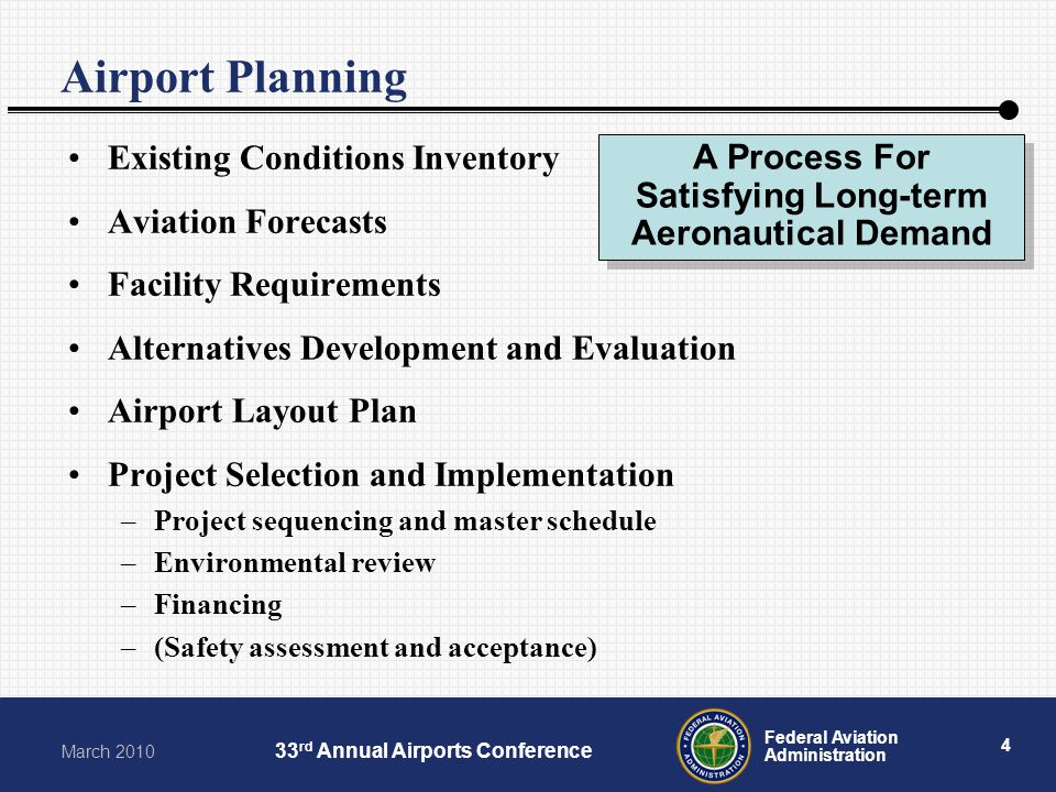 4 Federal Aviation Administration March 2010 33 rd Annual Airports Conference Airport Planning Existing Conditions Inventory Aviation Forecasts Facili