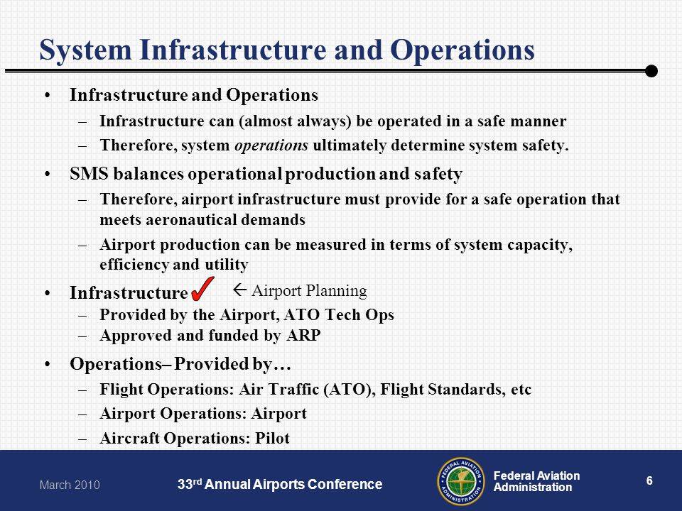6 Federal Aviation Administration March 2010 33 rd Annual Airports Conference System Infrastructure and Operations Infrastructure and Operations –Infr