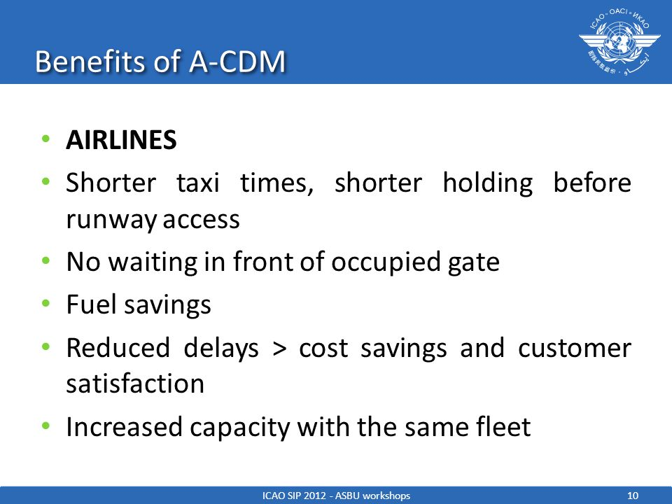 Benefits of A-CDM 10ICAO SIP 2012 - ASBU workshops AIRLINES Shorter taxi times, shorter holding before runway access No waiting in front of occupied g