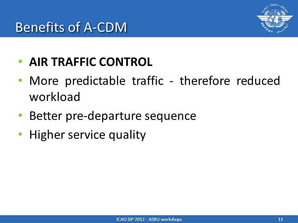 Benefits of A-CDM 11ICAO SIP 2012 - ASBU workshops AIR TRAFFIC CONTROL More predictable traffic - therefore reduced workload Better pre-departure sequ