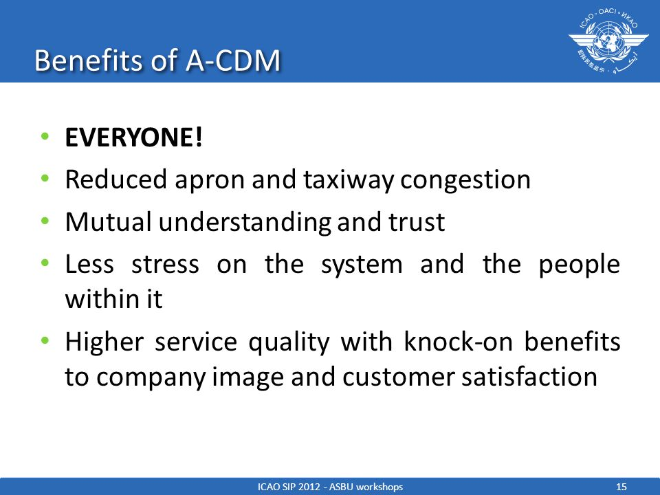 Benefits of A-CDM 15ICAO SIP 2012 - ASBU workshops EVERYONE! Reduced apron and taxiway congestion Mutual understanding and trust Less stress on the sy