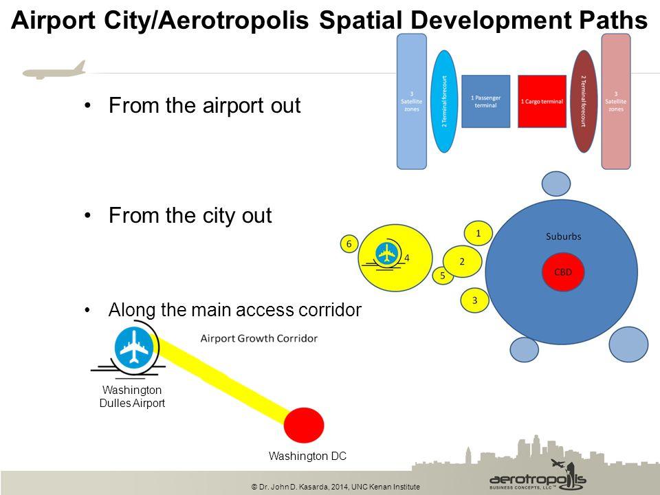 © Dr. John D. Kasarda, 2014, UNC Kenan Institute Airport City/Aerotropolis Spatial Development Paths From the airport out From the city out Along the