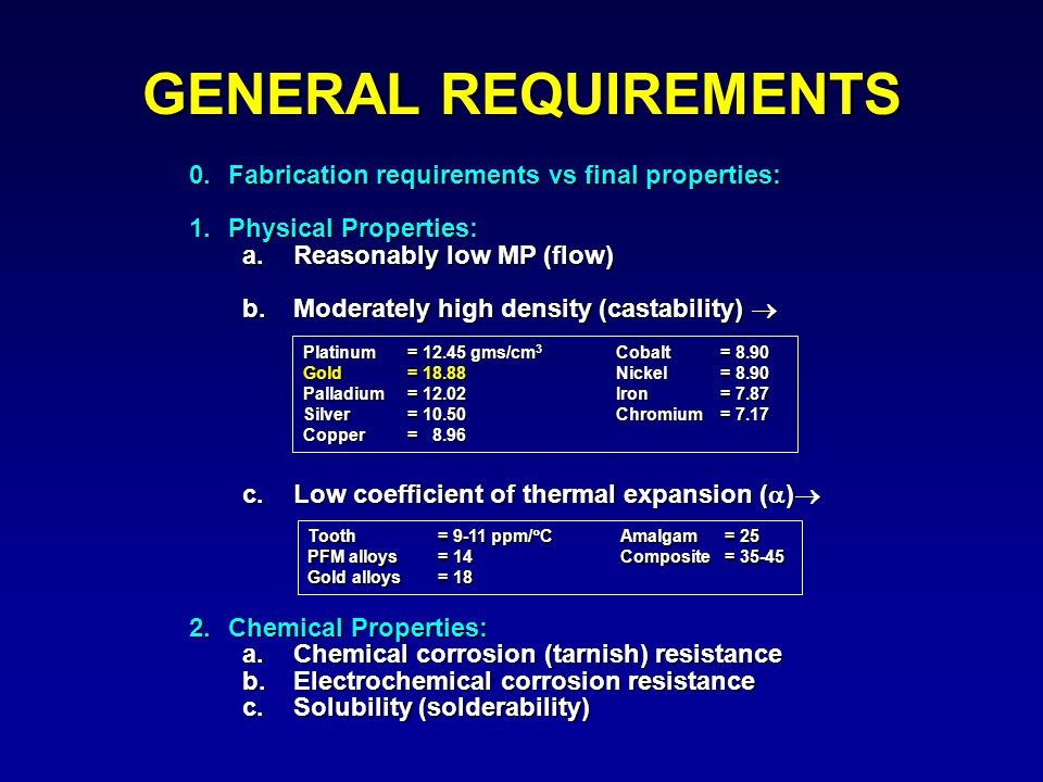 0.Fabrication requirements vs final properties: 1.Physical Properties: a.Reasonably low MP (flow) b.Moderately high density (castability)  c.Low coef