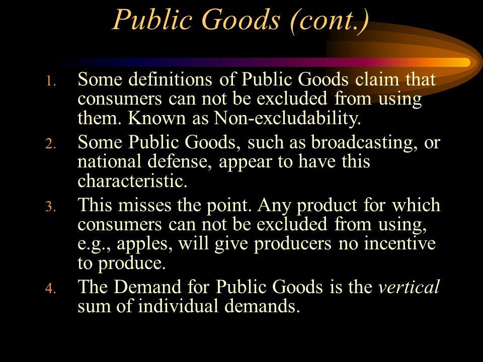 Public Goods (cont.) 1.