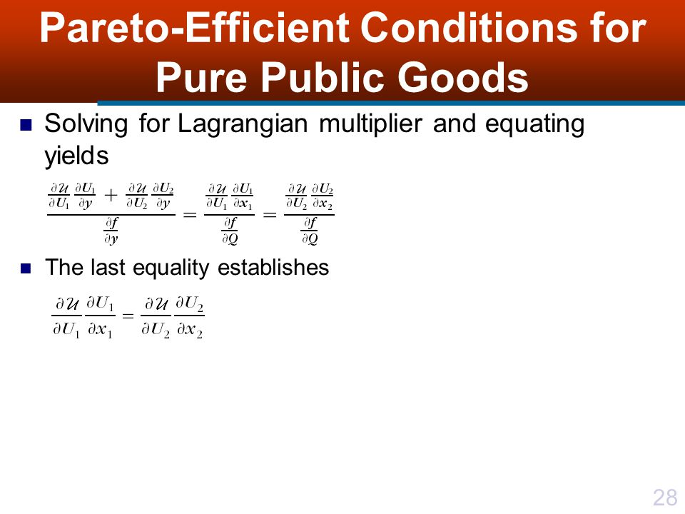28 Pareto-Efficient Conditions for Pure Public Goods Solving for Lagrangian multiplier and equating yields The last equality establishes