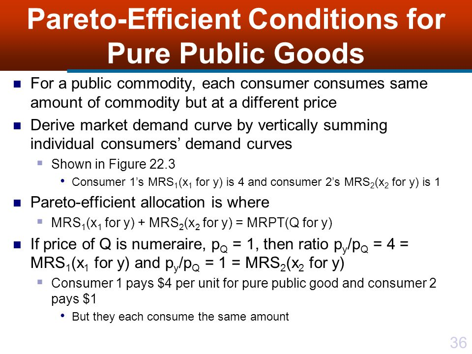 36 Pareto-Efficient Conditions for Pure Public Goods For a public commodity, each consumer consumes same amount of commodity but at a different price Derive market demand curve by vertically summing individual consumers' demand curves  Shown in Figure 22.3 Consumer 1's MRS 1 (x 1 for y) is 4 and consumer 2's MRS 2 (x 2 for y) is 1 Pareto-efficient allocation is where  MRS 1 (x 1 for y) + MRS 2 (x 2 for y) = MRPT(Q for y) If price of Q is numeraire, p Q = 1, then ratio p y /p Q = 4 = MRS 1 (x 1 for y) and p y /p Q = 1 = MRS 2 (x 2 for y)  Consumer 1 pays $4 per unit for pure public good and consumer 2 pays $1 But they each consume the same amount