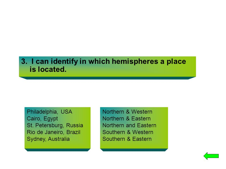 3. I can identify in which hemispheres a place is located. Philadelphia, USA Cairo, Egypt St. Petersburg, Russia Rio de Janeiro, Brazil Sydney, Austra