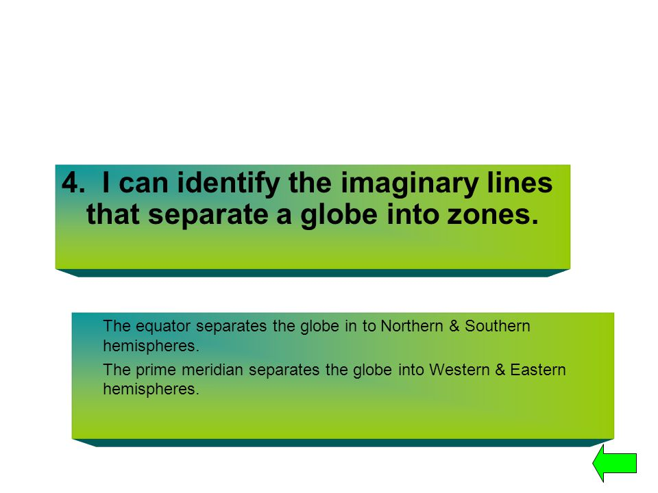 4. I can identify the imaginary lines that separate a globe into zones. The equator separates the globe in to Northern & Southern hemispheres. The pri