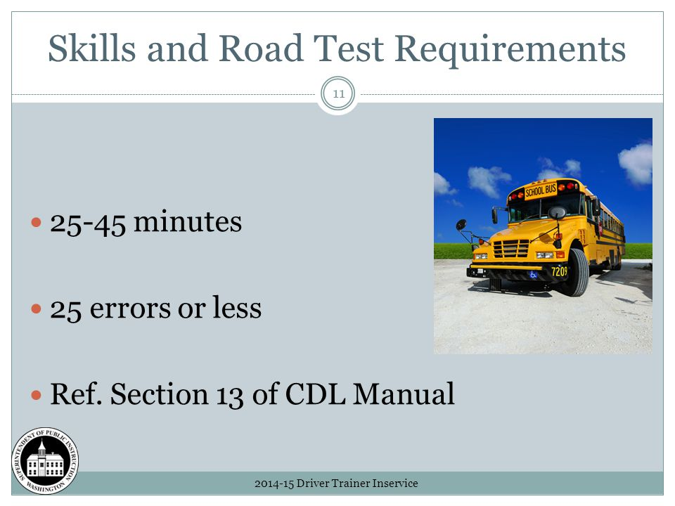 Skills and Road Test Requirements 2014-15 Driver Trainer Inservice 11 25-45 minutes 25 errors or less Ref.