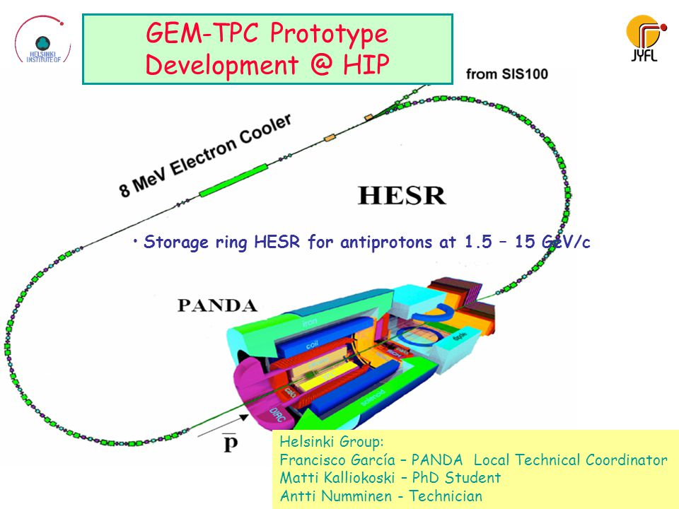 4 Storage ring HESR for antiprotons at 1.5 – 15 GeV/c GEM-TPC Prototype Development @ HIP Helsinki Group: Francisco García – PANDA Local Technical Coordinator Matti Kalliokoski – PhD Student Antti Numminen - Technician