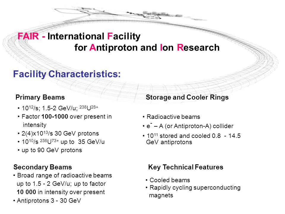 FAIR - International Facility for Antiproton and Ion Research Facility Characteristics: Primary Beams 10 12 /s; 1.5-2 GeV/u; 238 U 28+ Factor 100-1000 over present in intensity 2(4)x10 13 /s 30 GeV protons 10 10 /s 238 U 73+ up to 35 GeV/u up to 90 GeV protons Secondary Beams Broad range of radioactive beams up to 1.5 - 2 GeV/u; up to factor 10 000 in intensity over present Antiprotons 3 - 30 GeV Storage and Cooler Rings Radioactive beams e - – A (or Antiproton-A) collider 10 11 stored and cooled 0.8 - 14.5 GeV antiprotons Key Technical Features Cooled beams Rapidly cycling superconducting magnets