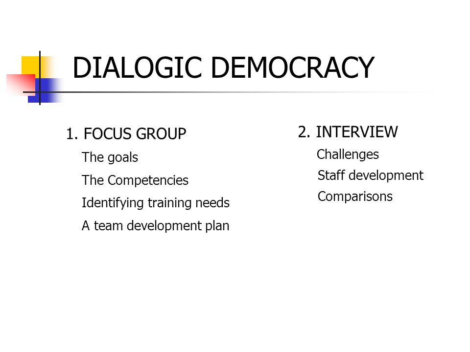 DIALOGIC DEMOCRACY 1. FOCUS GROUP The goals The Competencies Identifying training needs A team development plan 2. INTERVIEW Challenges Staff developm