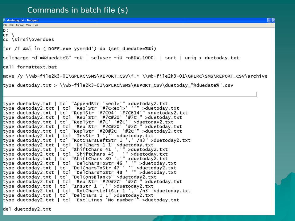 Commands in batch file (s)