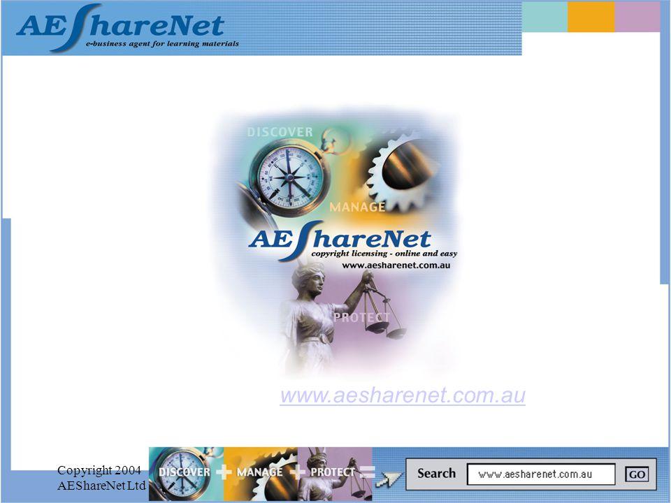 Copyright 2004 AEShareNet Ltd www.aesharenet.com.au