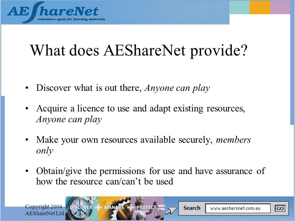 Copyright 2004 AEShareNet Ltd What does AEShareNet provide.