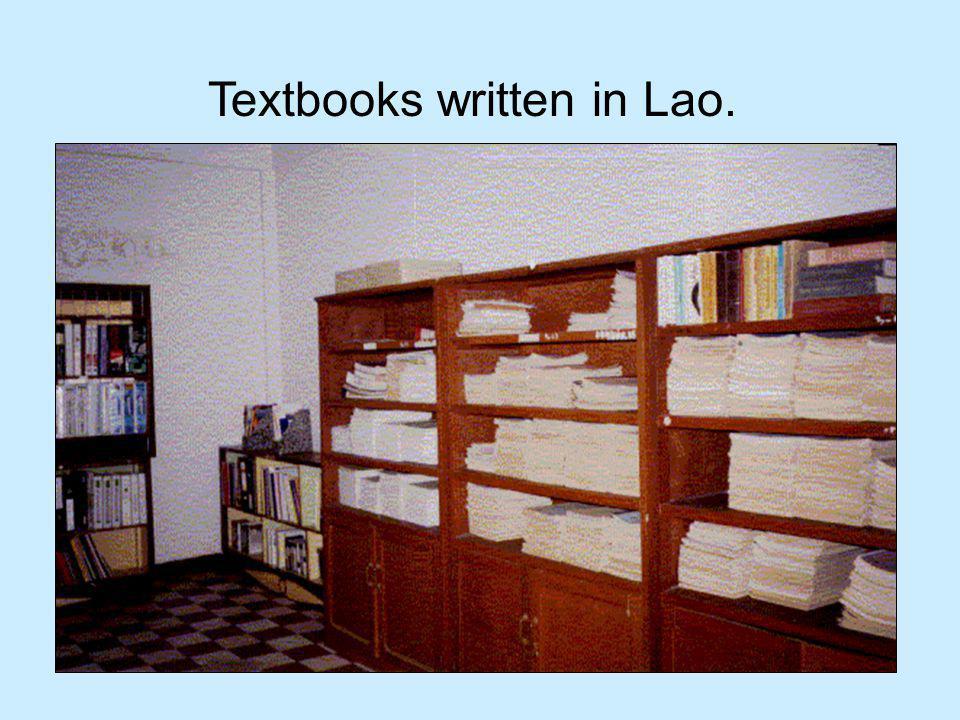 Textbooks written in Lao.