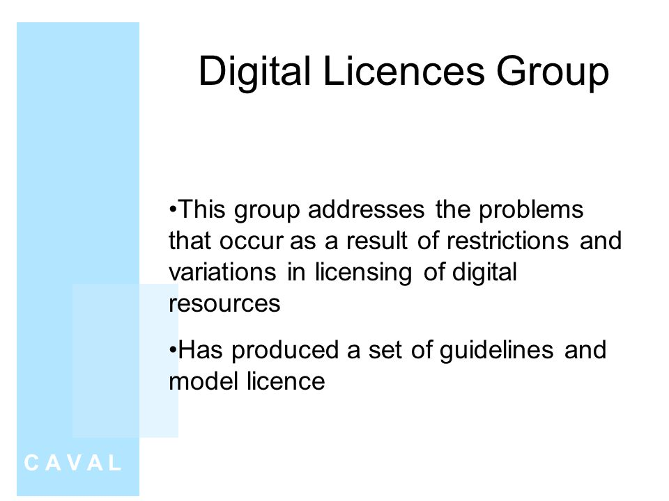 Digital Licences Group C A V A L This group addresses the problems that occur as a result of restrictions and variations in licensing of digital resources Has produced a set of guidelines and model licence